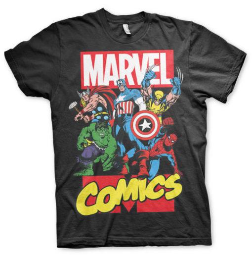 T-shirt Marvel Comics Heroes grandes Tailles de couleur Noir