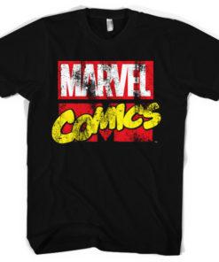 T-shirt Marvel Comics Retro Logo grandes Tailles de couleur Noir