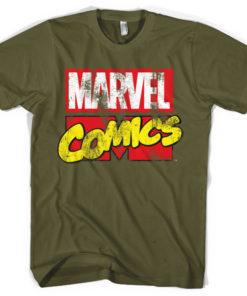T-shirt Marvel Comics Retro Logo grandes Tailles de couleur Vert Olive