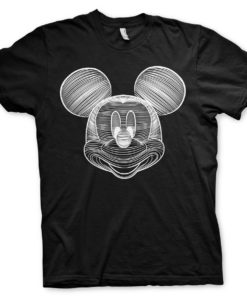T-Shirt Mickey Mouse LineArt de couleur Noir