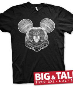T-shirt Mickey Mouse LineArt grandes Tailles de couleur Noir