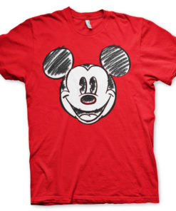 T-Shirt Mickey Mouse Pixelated Sketch de couleur Rouge