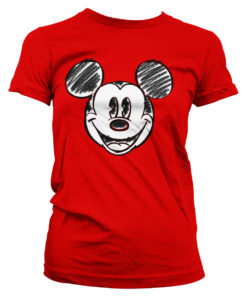 T-Shirt Mickey Mouse Pixelated Sketch pour Femme de couleur Rouge