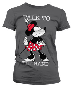T-Shirt Minnie Mouse - Talk To The Hand pour Femme de couleur Gris Foncé