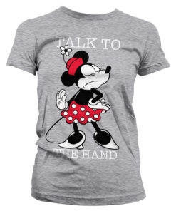T-Shirt Minnie Mouse - Talk To The Hand pour Femme de couleur Gris