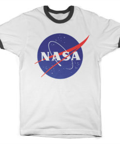 T Shirt NASA Insignia Ringer  de couleur Blanc/Noir