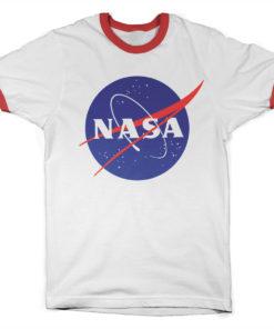 T Shirt NASA Insignia Ringer  de couleur Blanc/Rouge