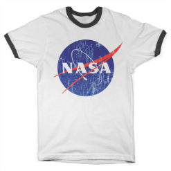 T Shirt NASA Washed Insignia Ringer  de couleur Blanc/Noir