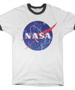T Shirt NASA Washed Insignia Ringer  de couleur Blanc/Noir