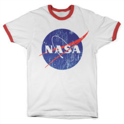 T Shirt NASA Washed Insignia Ringer  de couleur Blanc/Rouge