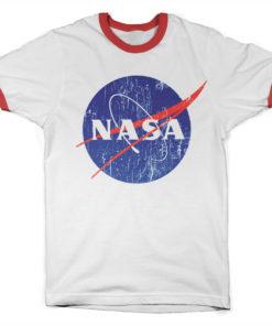 T Shirt NASA Washed Insignia Ringer  de couleur Blanc/Rouge