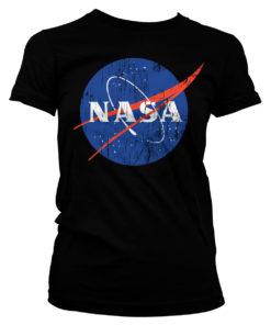 T-Shirt NASA Washed Insignia pour Femme de couleur Noir
