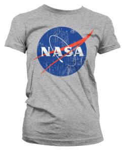 T-Shirt NASA Washed Insignia pour Femme de couleur Gris Chiné