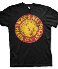 T-Shirt Porky Pig - That's All Folks! de couleur Noir