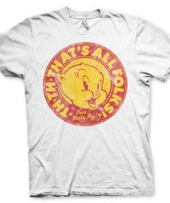 T-Shirt Porky Pig - That's All Folks! de couleur Blanc