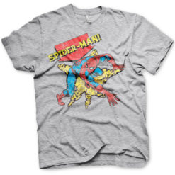 T-shirt Retro Spider-Man grandes Tailles de couleur Gris Chiné