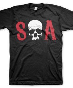 T-shirt S-O-A grandes Tailles de couleur Noir