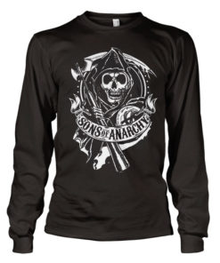 T-shirt SOA Scroll Reaper Long Sleeve grandes Tailles de couleur Noir