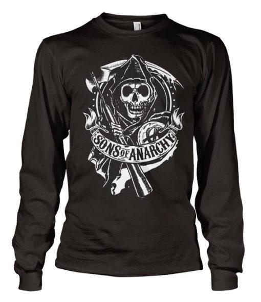 T-shirt SOA Scroll Reaper Long Sleeve grandes Tailles de couleur Noir