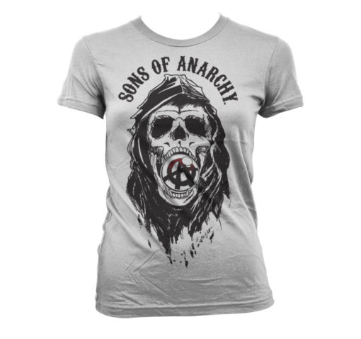T-Shirt Sons Of Anarchy Draft Skull pour Femme de couleur Blanc