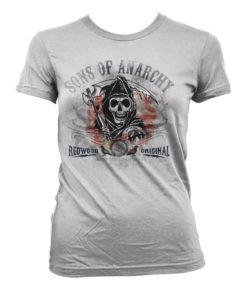 T-Shirt Sons Of Anarchy Flag pour Femme de couleur Blanc