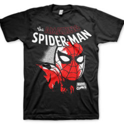 T-shirt Spider-Man Close Up grandes Tailles de couleur Noir