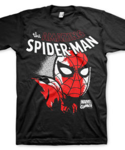 T-shirt Spider-Man Close Up grandes Tailles de couleur Noir