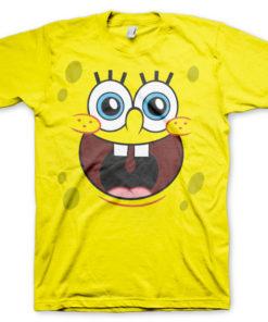 T-shirt Sponge Happy Face grandes Tailles de couleur Jaune