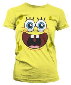 T-Shirt Sponge Happy Face pour Femme de couleur Jaune