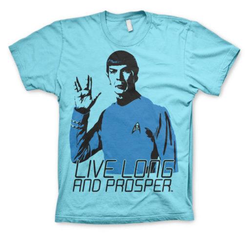 T-shirt Star Trek - Live Long And Prosper grandes Tailles de couleur Bleu Ciel
