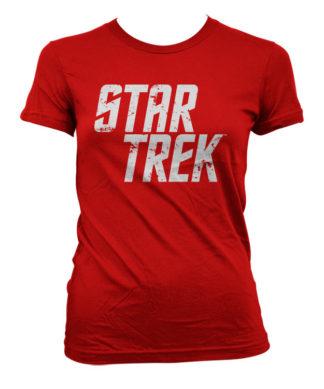 T-Shirt Star Trek Logo pour Femme de couleur Rouge