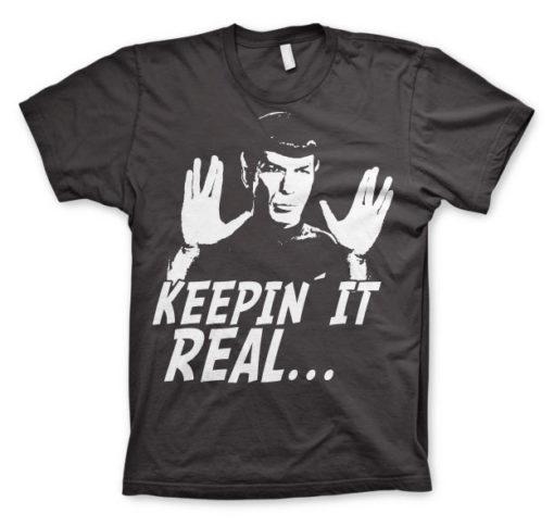 T-shirt Star Trek - Spock Keepin? It Real grandes Tailles de couleur Gris Foncé