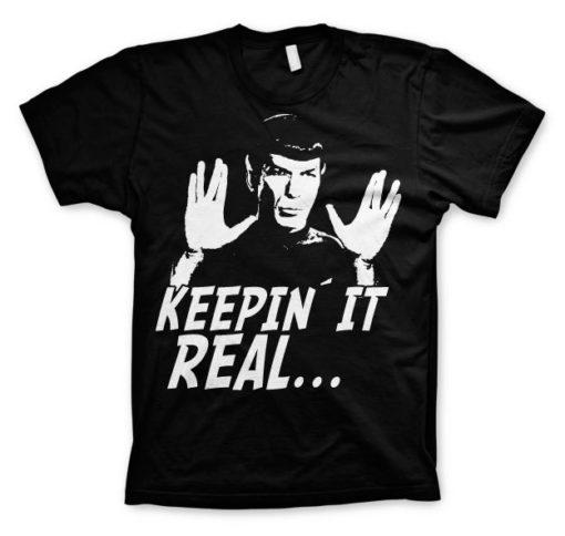 T-shirt Star Trek - Spock Keepin? It Real grandes Tailles de couleur Noir