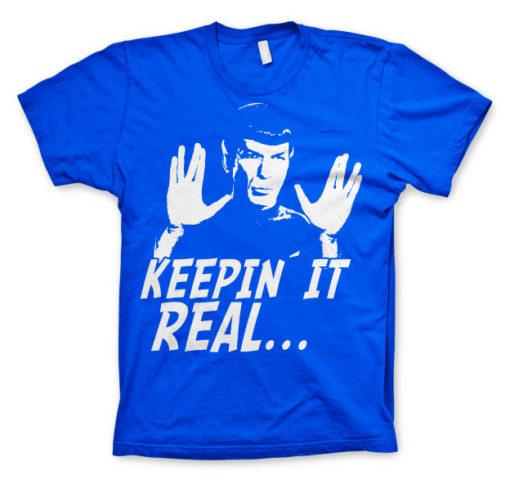 T-shirt Star Trek - Spock Keepin? It Real grandes Tailles de couleur Bleu