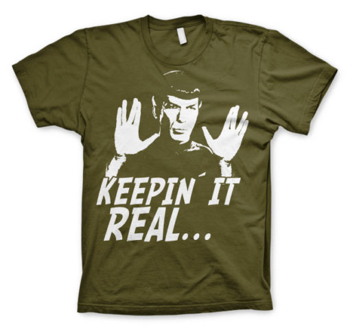 T-shirt Star Trek - Spock Keepin? It Real grandes Tailles de couleur Vert Olive