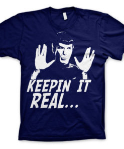 T-shirt Star Trek - Spock Keepin? It Real grandes Tailles de couleur Bleu Nuit