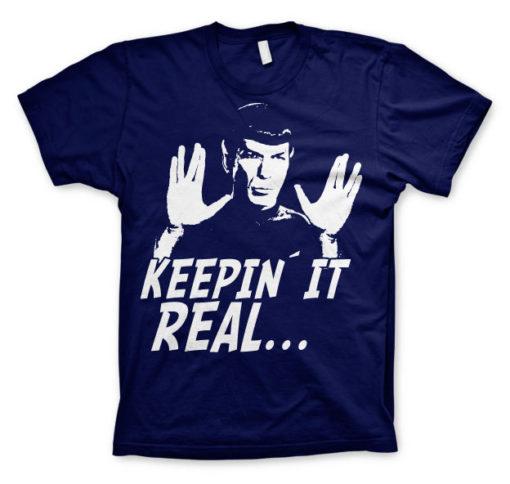 T-shirt Star Trek - Spock Keepin? It Real grandes Tailles de couleur Bleu Nuit