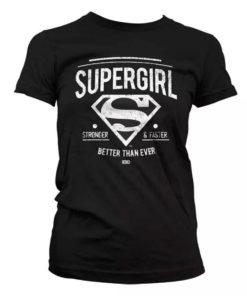 T-shirt Supergirl noir pour femme