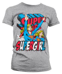 T-Shirt Supergirl pour Femme de couleur Gris Chiné