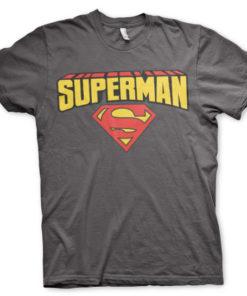 T-shirt Superman Blockletter Logo grandes Tailles de couleur Gris Foncé