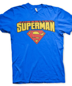T-shirt Superman Blockletter Logo grandes Tailles de couleur Bleu