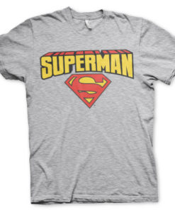 T-shirt Superman Blockletter Logo grandes Tailles de couleur Gris Chiné