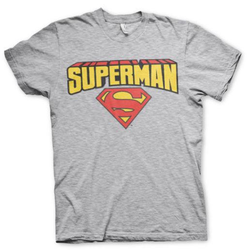 T-shirt Superman Blockletter Logo grandes Tailles de couleur Gris Chiné