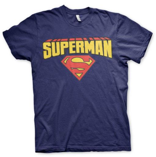 T-shirt Superman Blockletter Logo grandes Tailles de couleur Bleu Nuit