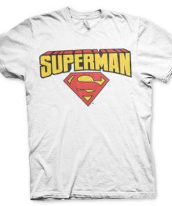 T-shirt Superman Blockletter Logo grandes Tailles de couleur Blanc