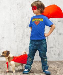 T-shirt Superman enflant (bleu et jaune avec logo)