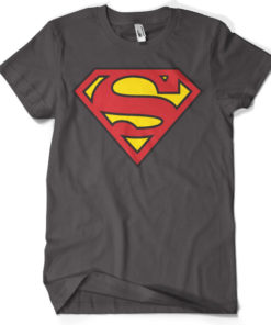 T-shirt Superman Shield grandes Tailles de couleur Gris Foncé