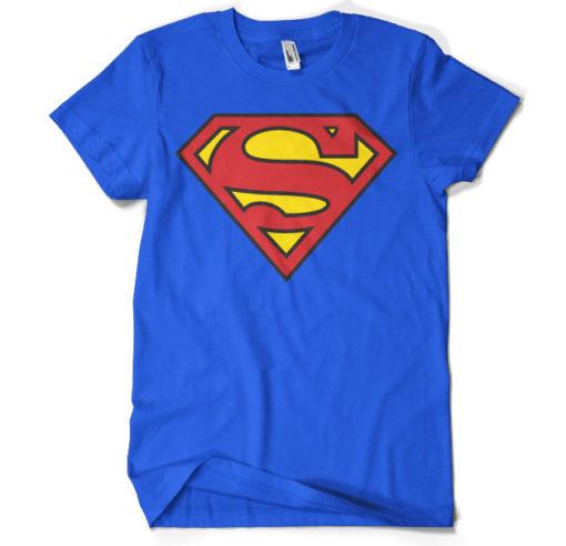 T-shirt Superman Shield grandes Tailles de couleur Bleu