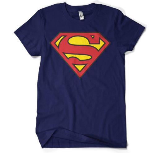 T-shirt Superman Shield grandes Tailles de couleur Bleu Nuit