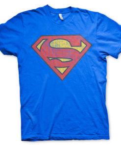 T-shirt Superman Washed Shield grandes Tailles de couleur Bleu